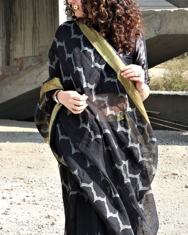 Waves - Black Block Printed Pure Handwoven Linen Saree