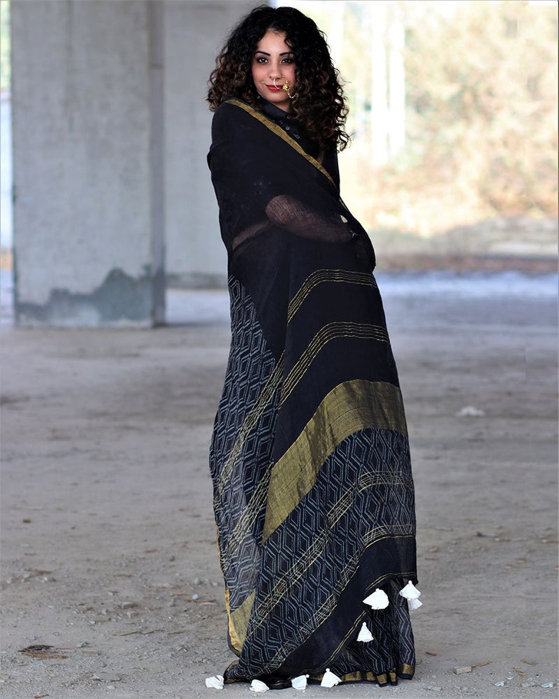 Diamonds - Black Block Printed Pure Handwoven Linen Saree