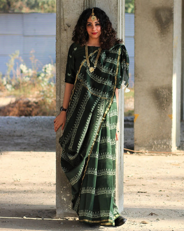 Green Line Block Printed Pure Chanderi Saree