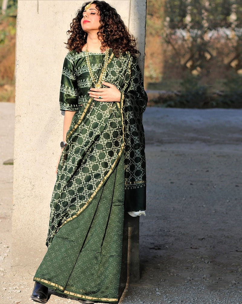 Green Jal Block Printed Pure Chanderi Saree