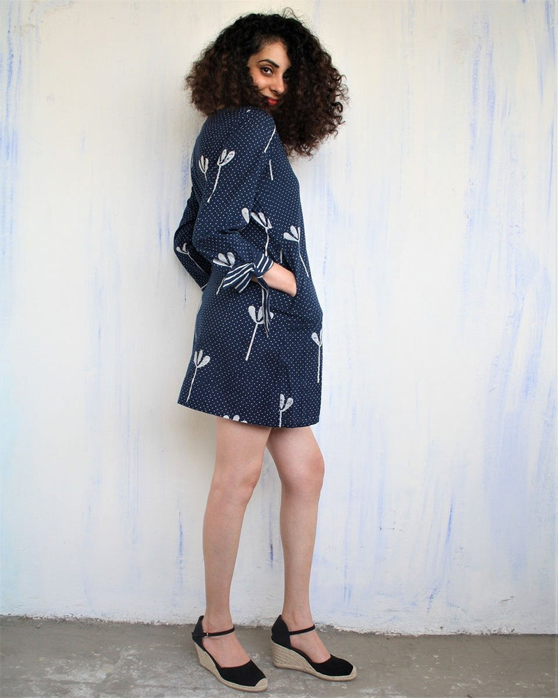 Floral Blue Block Printed Short Dress