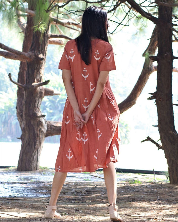 Peach blockprinted cotton pleated dress