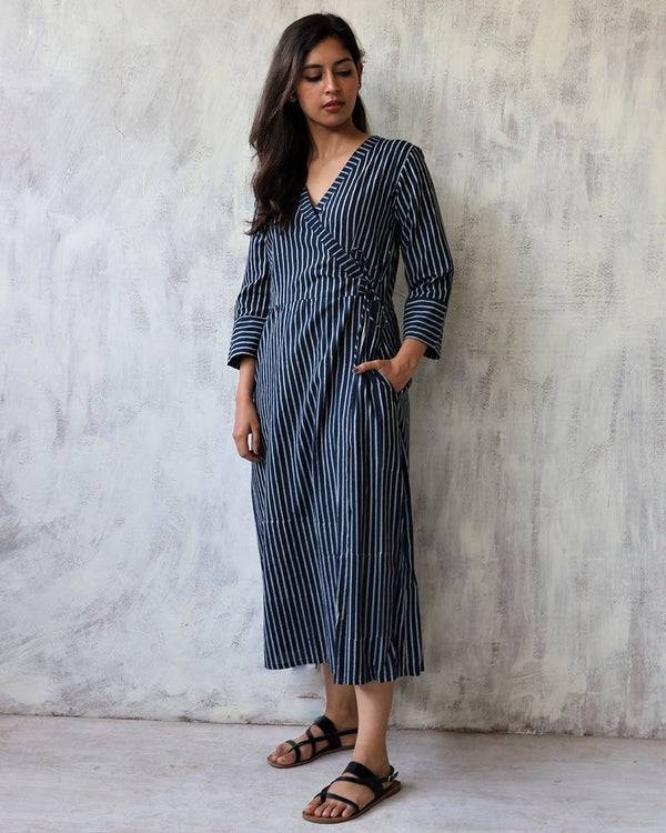 BLUE STRIP HANDPRINTED WRAP DRESS