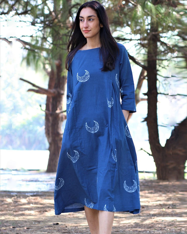 Blue crescent blockprinted cotton dress