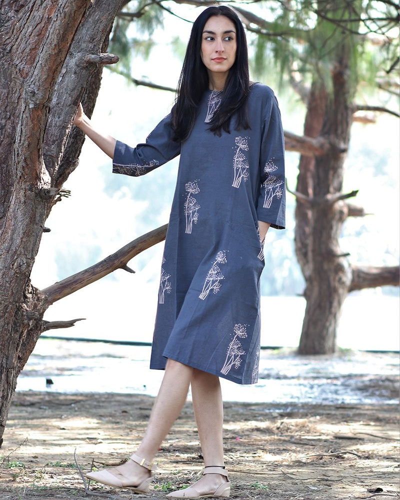 Grey wildflower blockprinted cotton dress