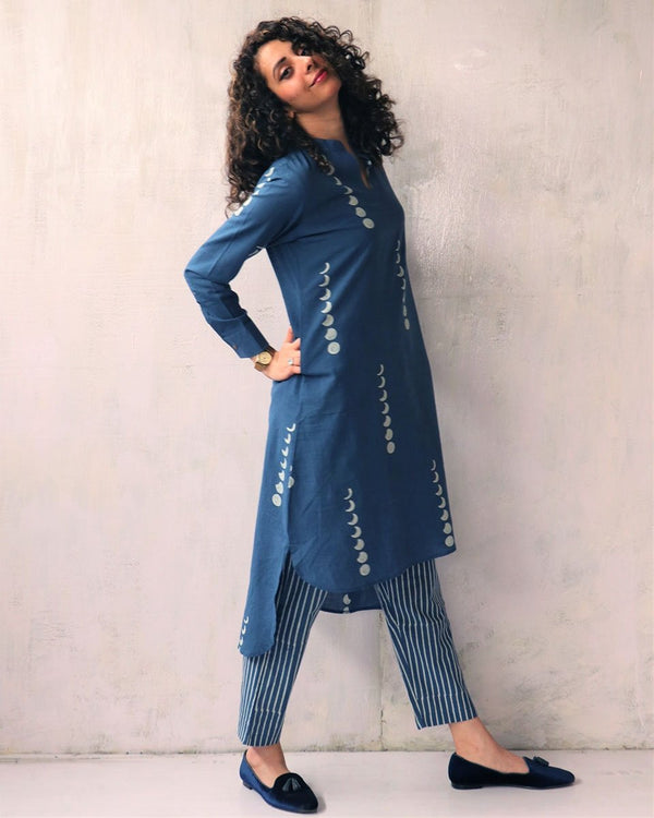 SKY BLUE BLOCKPRINTED COTTON KURTI AND BOTTOMS SET OF 2