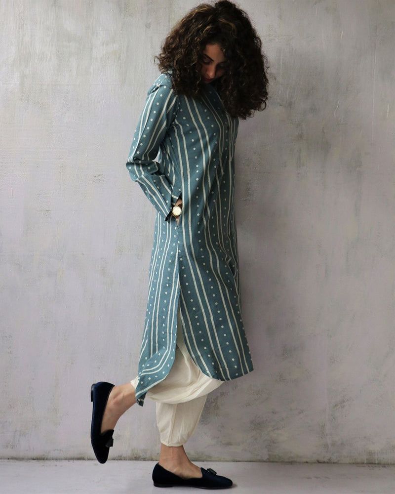STEEL BLUE BLOCKPRINTED COTTON KURTI AND BOTTOMS SET OF 2
