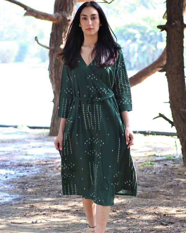 Green Angarakha blockprinted cotton dress