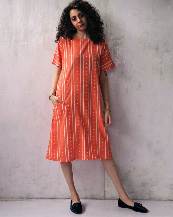 CORAL BLOCKPRINTED COTTON DRESS