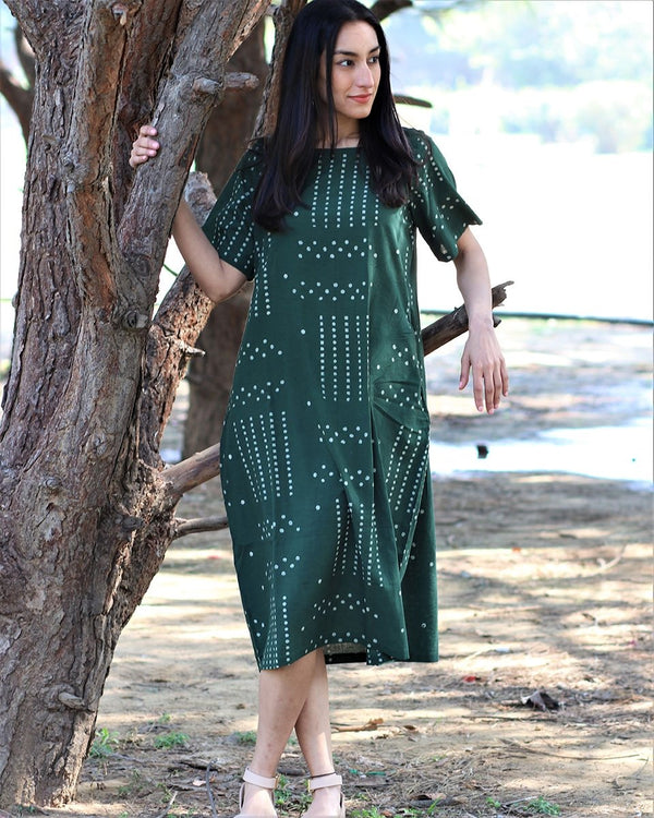 Green blockprinted cotton dress