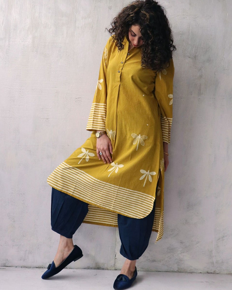 YELLOW BLOCKPRINTED COTTON KURTI AND BOTTOMS SET OF 2