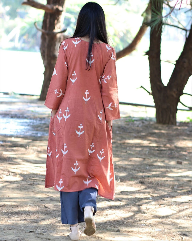 PEACH BLOCKPRINTED KURTI SET of 2