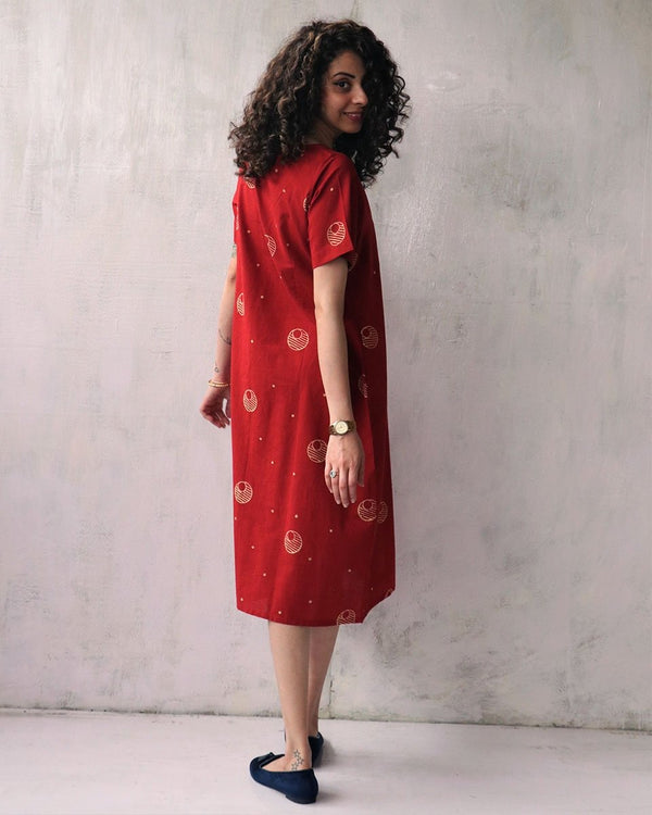 RED BLOCKPRINTED COTTON DRESS