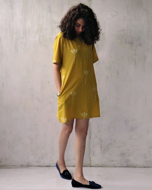 YELLOW BLOCKPRINTED COTTON SIFT DRESS