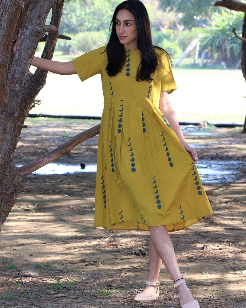 Yellow Eclipes blockprinted cotton pleated dress
