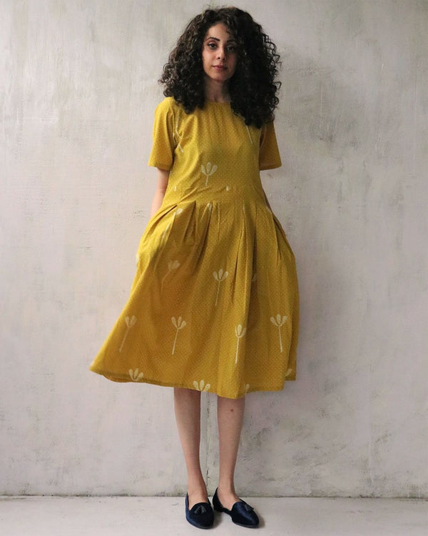 YELLOW BLOCKPRINTED COTTON DRESS