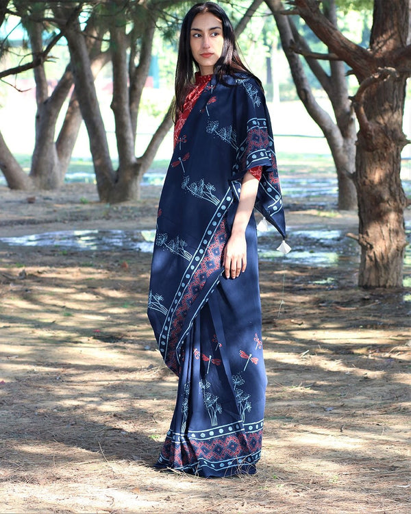 Blue Dragonfly Blockprinted Cotton Mul Saree