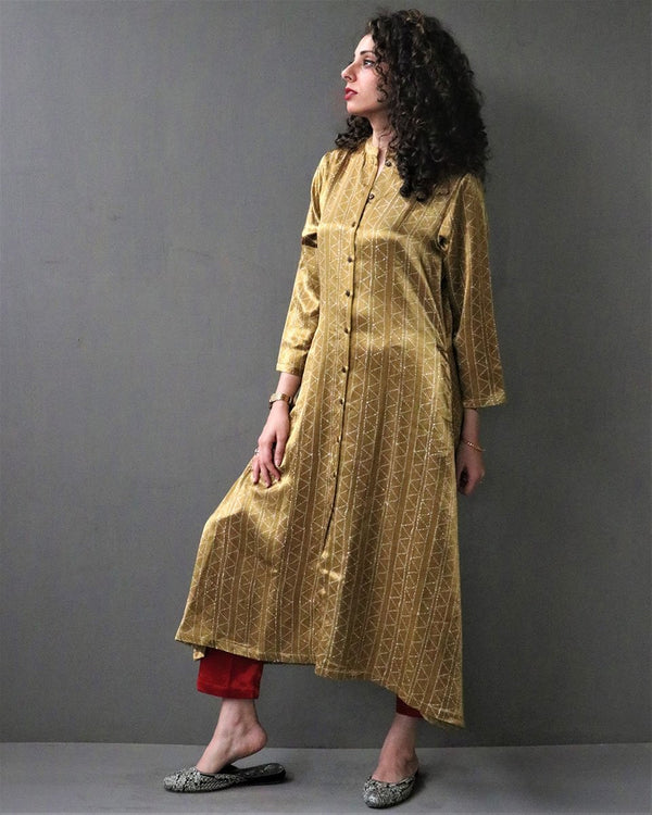 GOLD HANDPRINTED MASHRU SILK KURTI