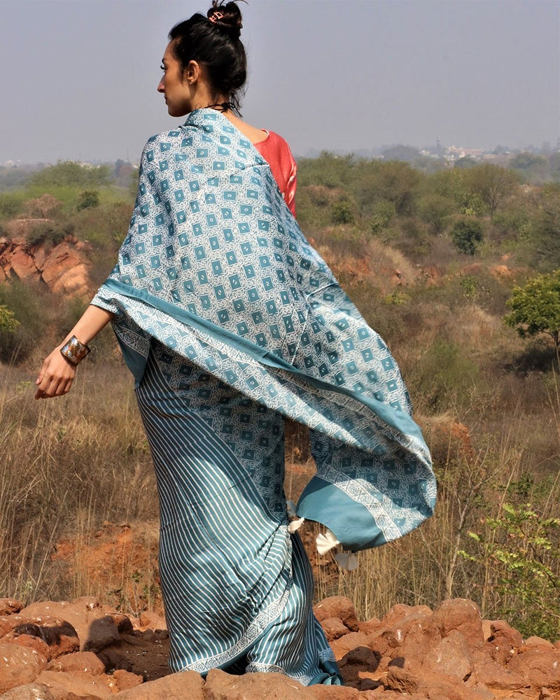 Sea blue blockprinted modal silk saree
