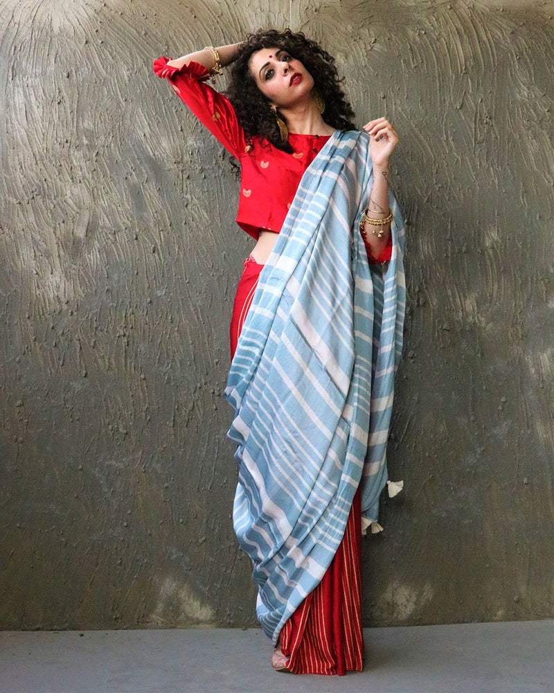 Red-Blue BlockPrinted Modal Silk Saree