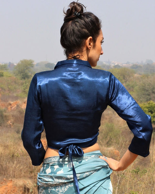 BLUE MASHRU WRAP CROP TOP