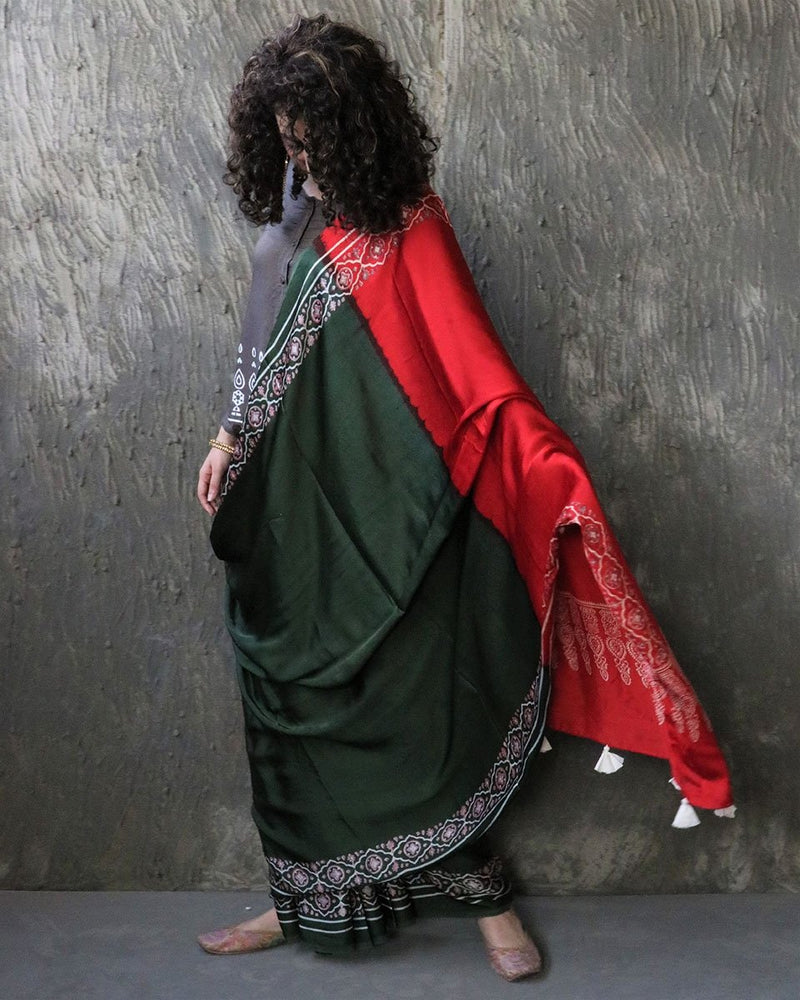 Green-Red BlockPrinted Modal Silk Saree