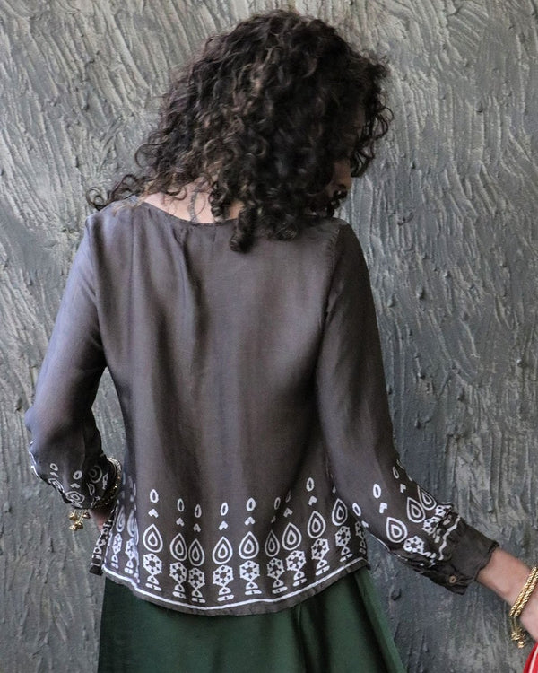 GREY BLOCKPRINT MODAL SILK TOP