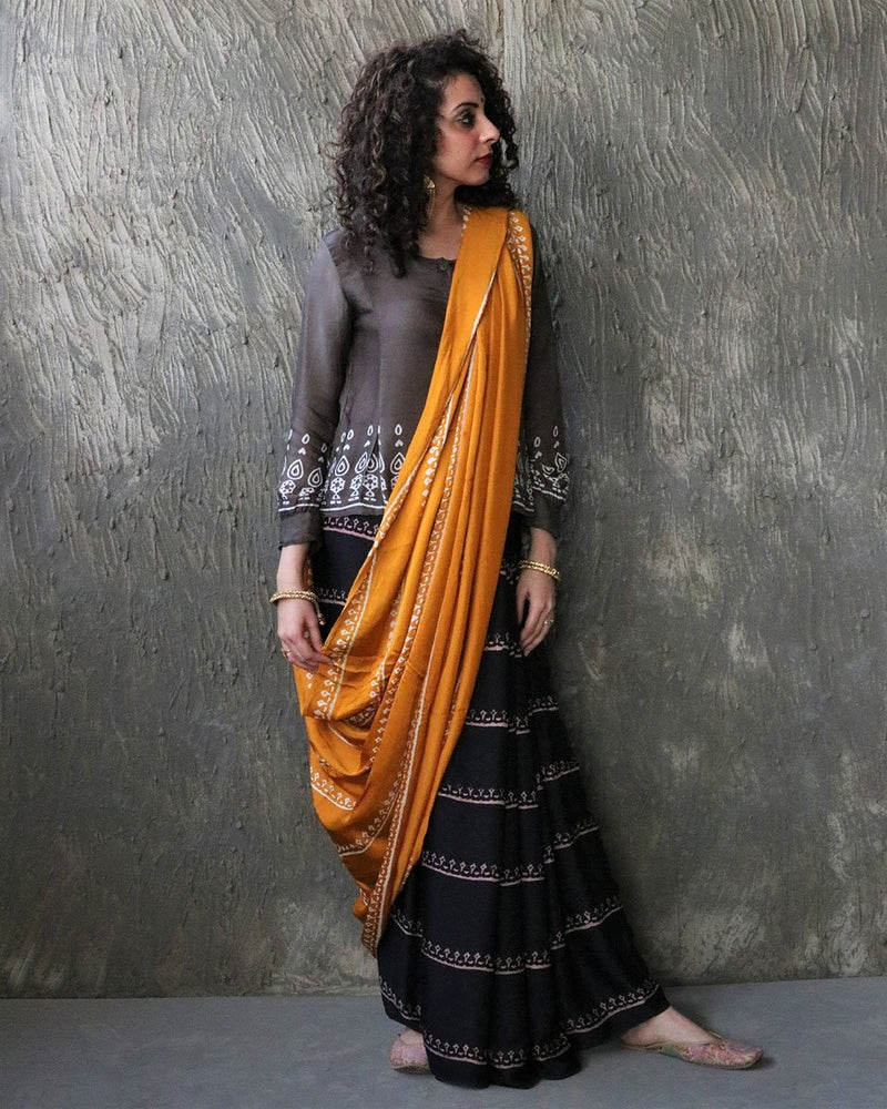 Yellow-Black BlockPrinted Modal Silk Saree