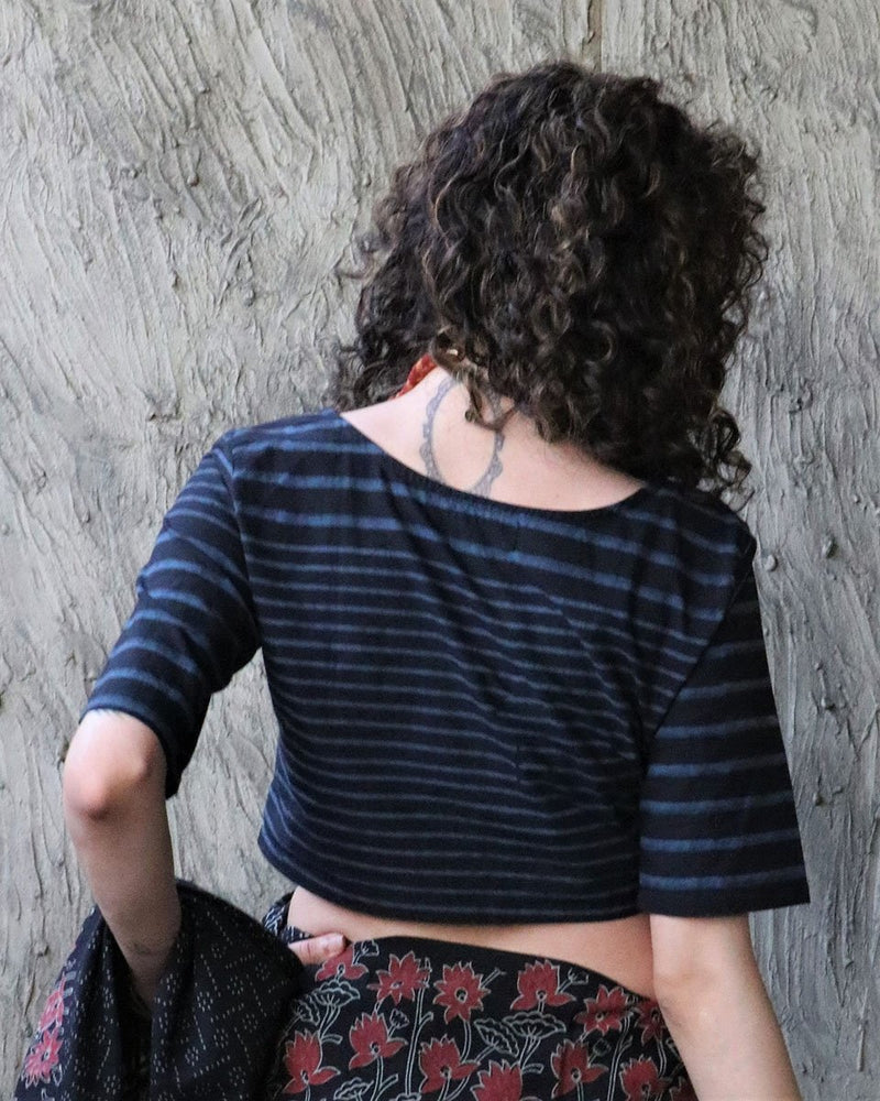 BLACK WITH BLUE STRIP BLOCK PRINTED COTTON CROP TOP BLOUSE