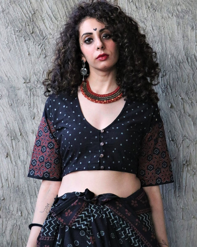 BLACK KOHL BLOCK PRINTED COTTON CROP TOP BLOUSE