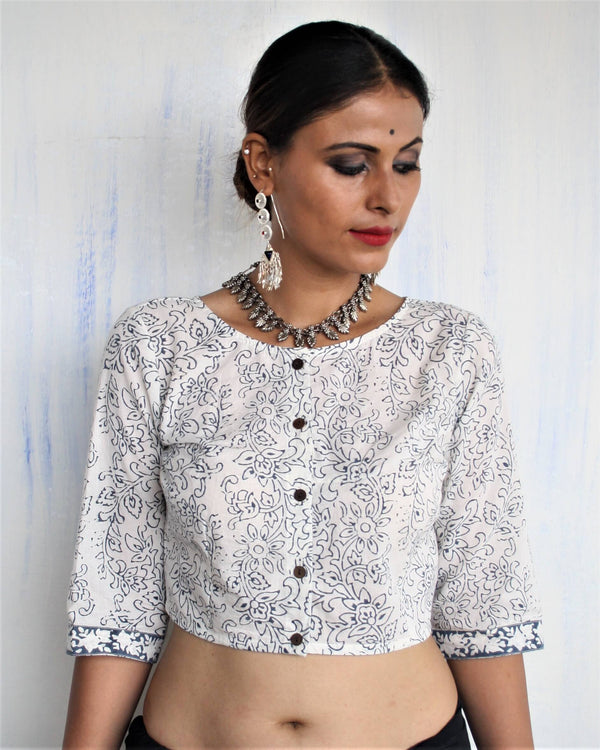 GRAY VASUDHA BLOCK PRINTED CROP TOP BLOUSE