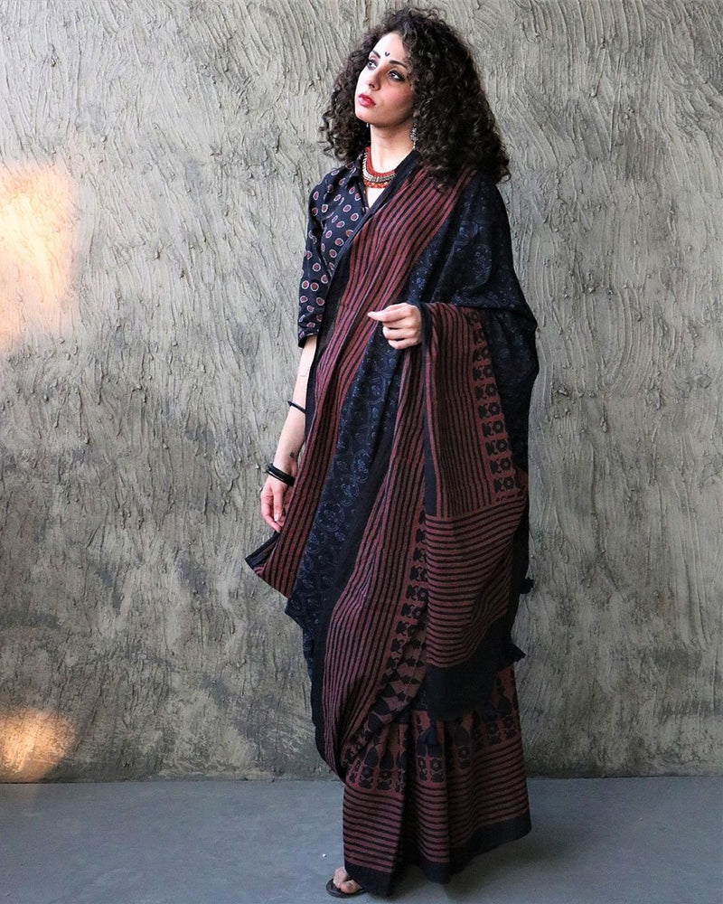 Kohl BlockPrinted Cotton Mul Saree