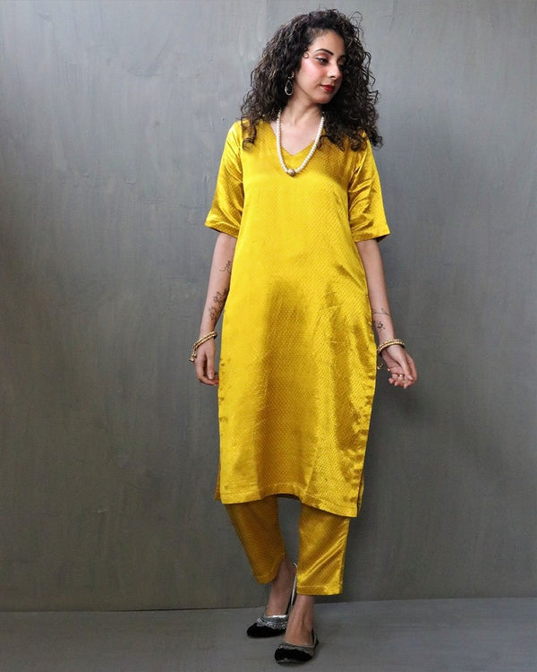 YELLOW MASHRU SILK KURTI SET OF 2