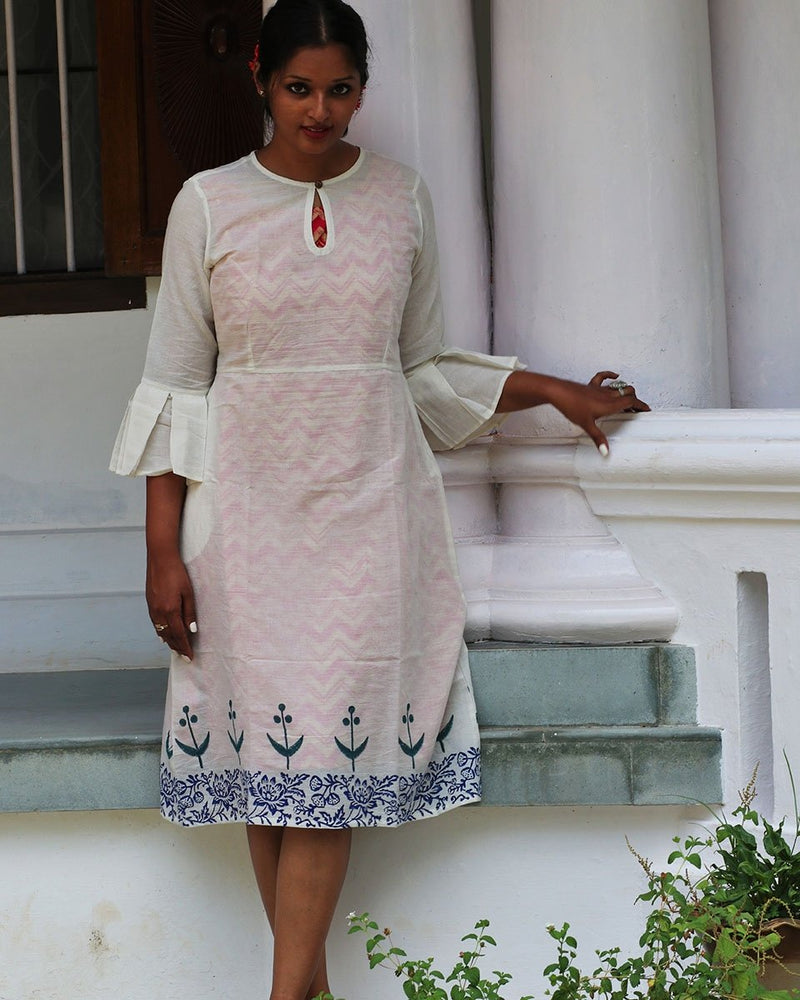 IVORY GREEN BLOCKPRINTED MULMUL BELL SLEEVES DRESS WITH PINK SLIP (SET OF 2)