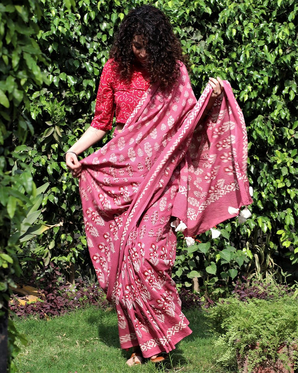Pink blockprinted cotton mul saree gul