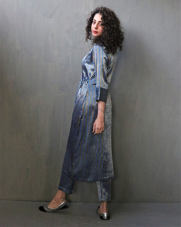 GREY STRIPE HANDPRINTED MASHRU SILK KURTI