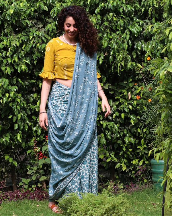 Steel blue blockprinted cotton mul saree
