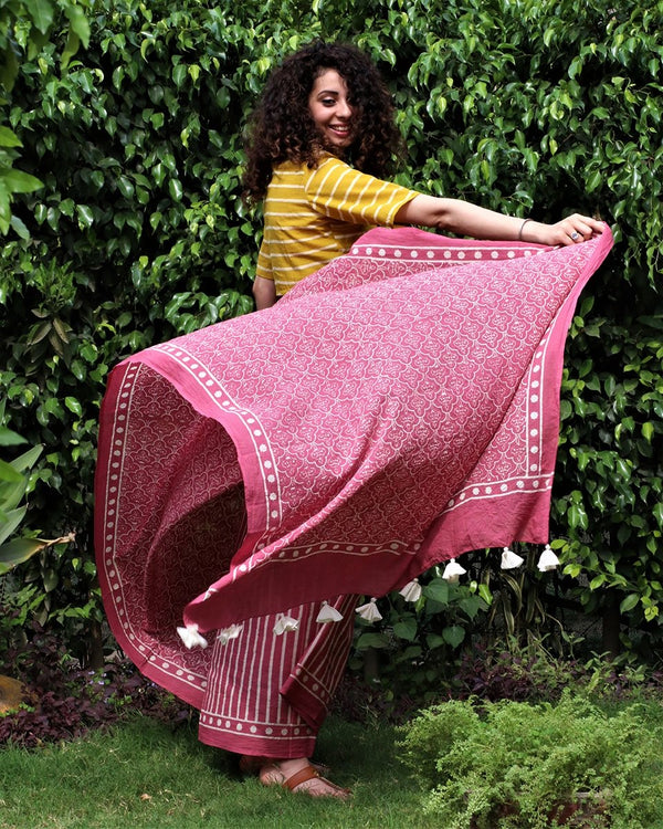 Pink blockprinted cotton mul saree Jal