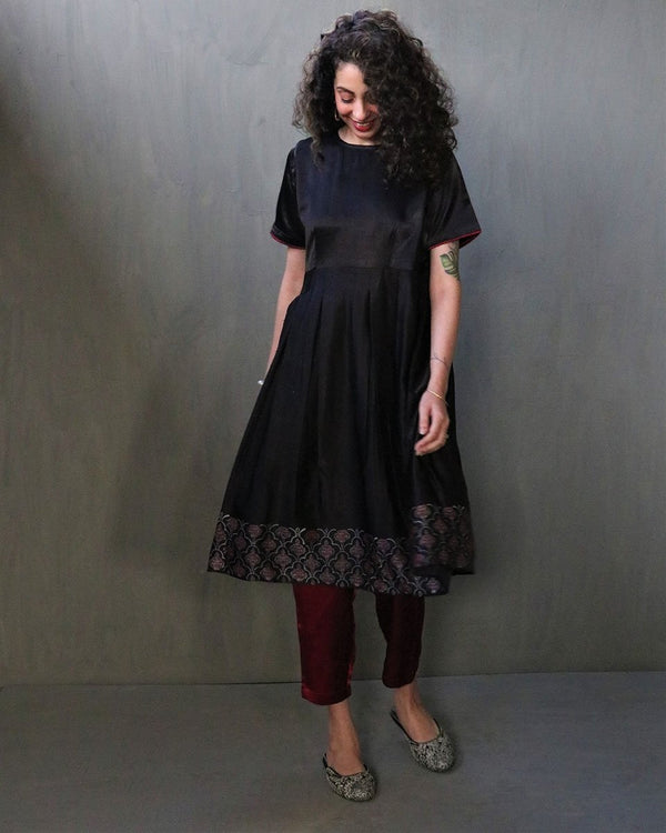BLACK GULAB HANDPRINTED MASHRU SILK DRESS