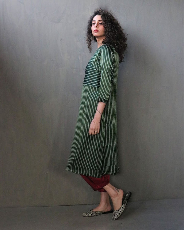 GREEN STRIPE HANDPRINTED MASHRU SILK DRESS