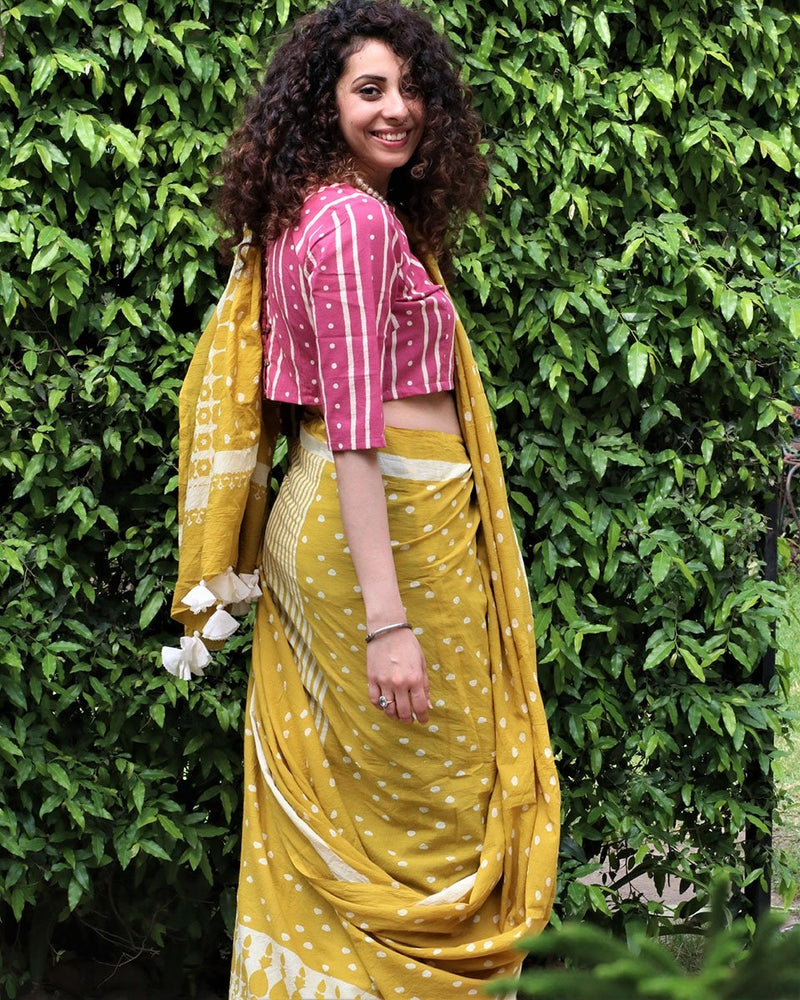 Yellow blockprinted cotton mul saree