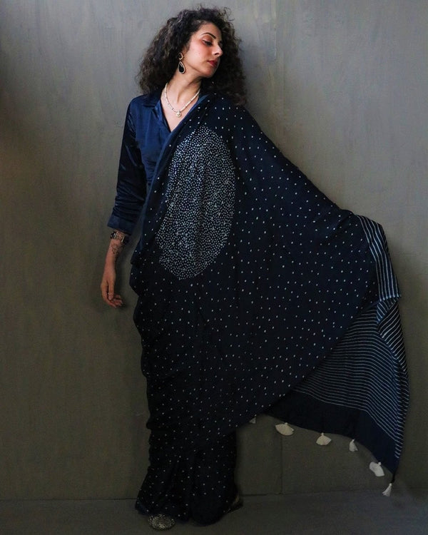 Blue Luna Block Printed Modal Silk Saree