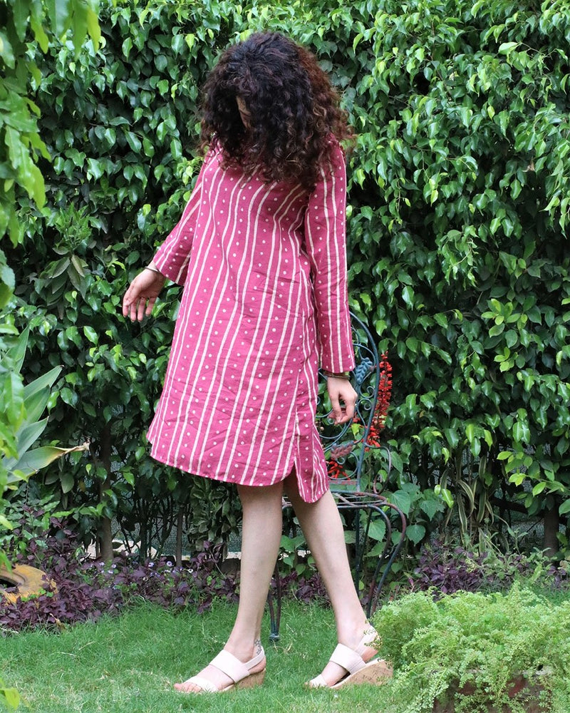 Pink blockprinted cotton shift dress