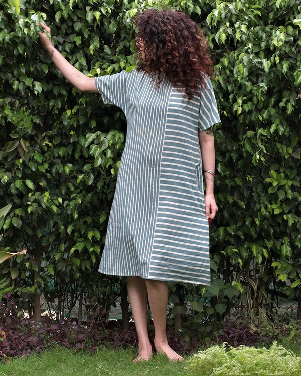 Steel blue blockprinted cotton shift dress
