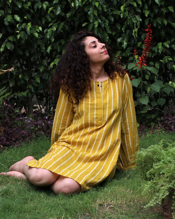 Yellow blockprinted cotton shift dress