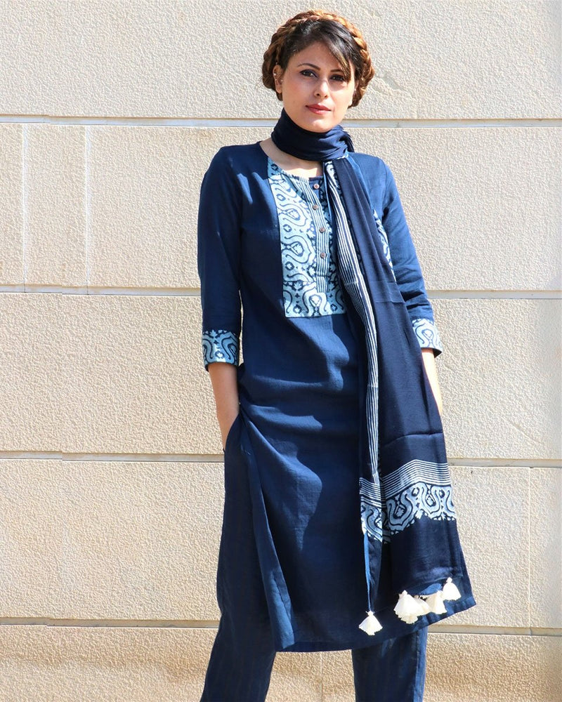 BLUE HANDPRINTED COTTON SILK KURTI