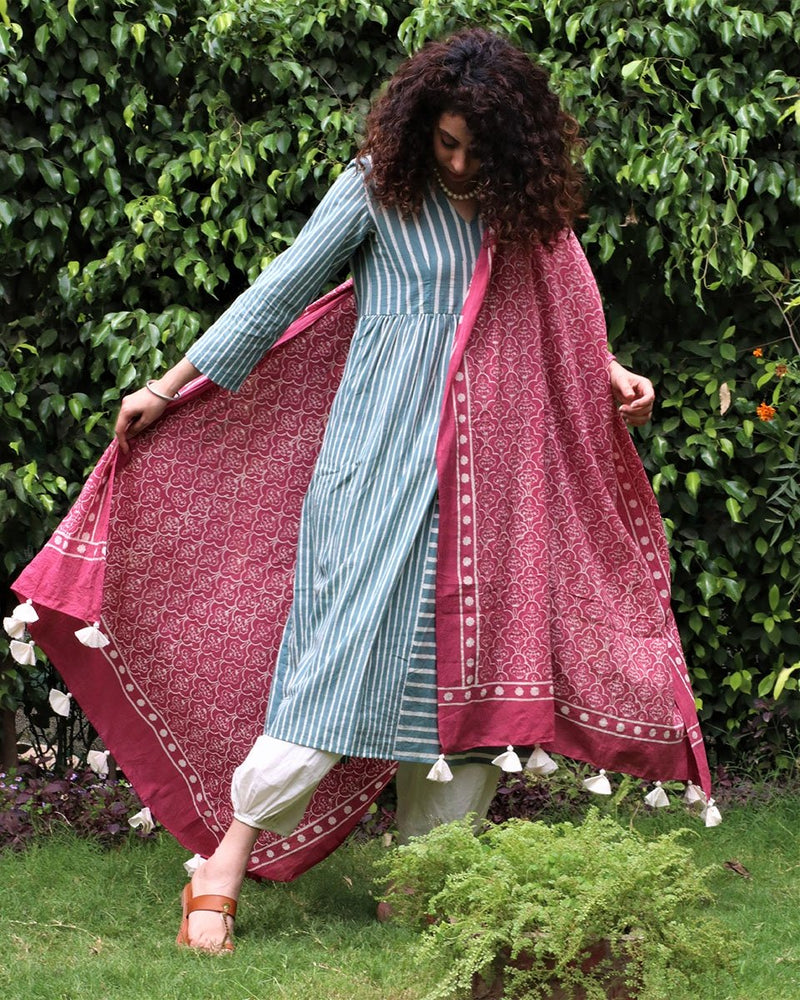 PINK BLOCKPRINTED COTTON MUL DUPATTA