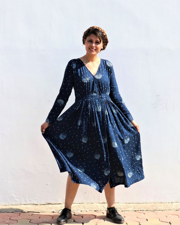 BLUE LUNA HANDPRINTED COTTON SILK WRAP DRESS