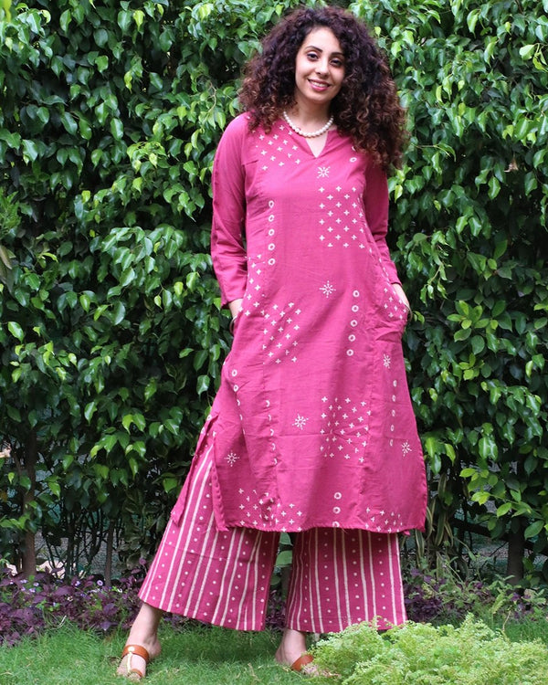 Pink blockprinted kurti Set of 2