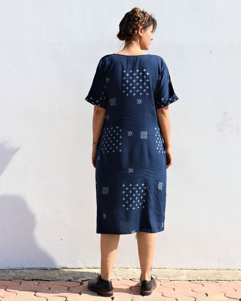 BLUE LUNA HANDPRINTED COTTON SILK DRESS